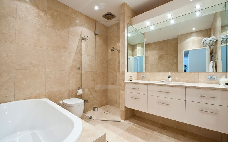 corner shower in bathroom