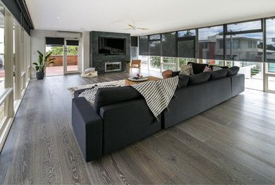 living area with wood floors