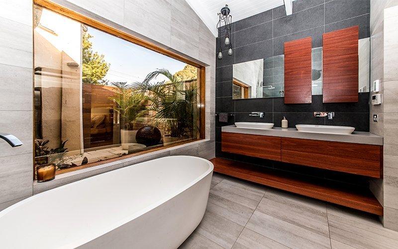bathroom with atrium view