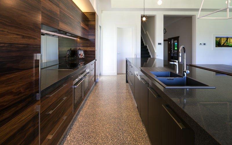 dark themed kitchen