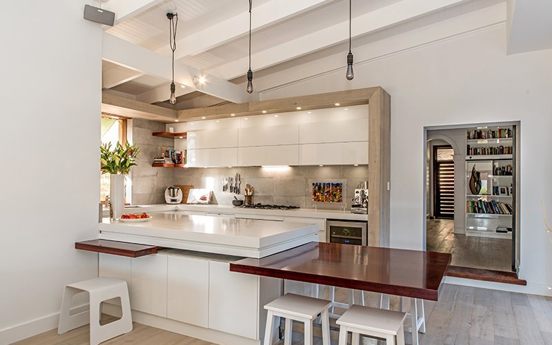 kitchen renovation with hobbit door