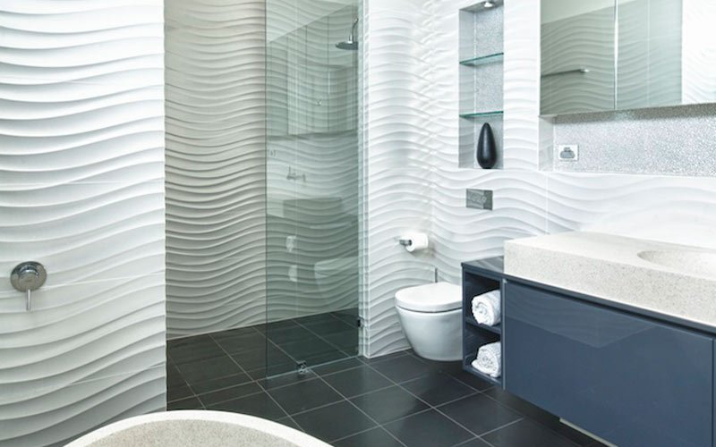 bathroom with sand styled tiles
