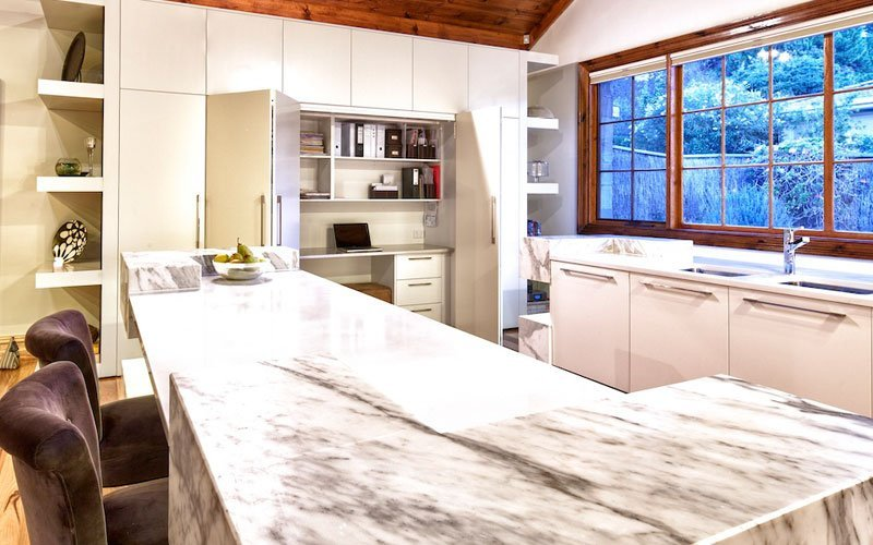 high end kitchen with stone benchtops