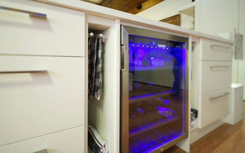 bar fridge built into kitchen