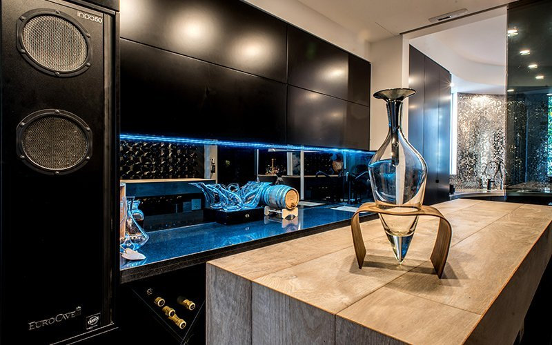 dark themed kitchen with port barrel