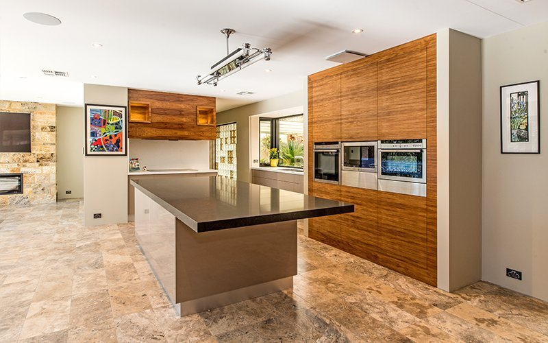 wooden themed entertainers kitchen