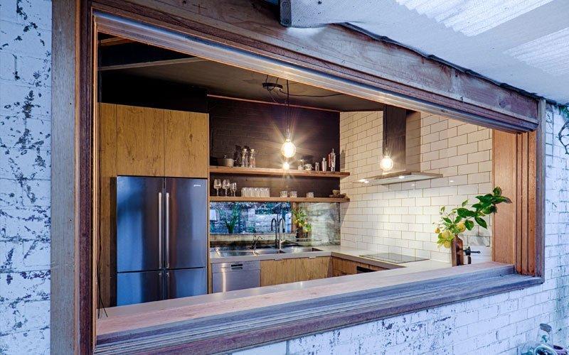 kitchen looking over backyard